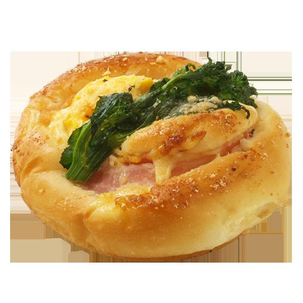 菜の花とゆる茹でたまごのパン
