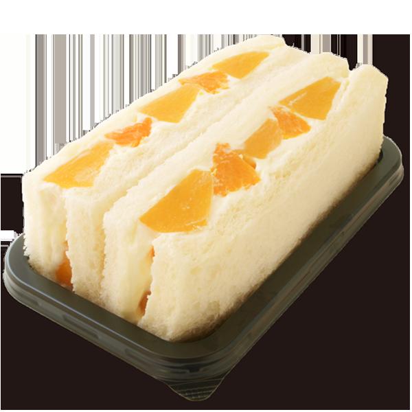黄桃とみかんの果物サンド